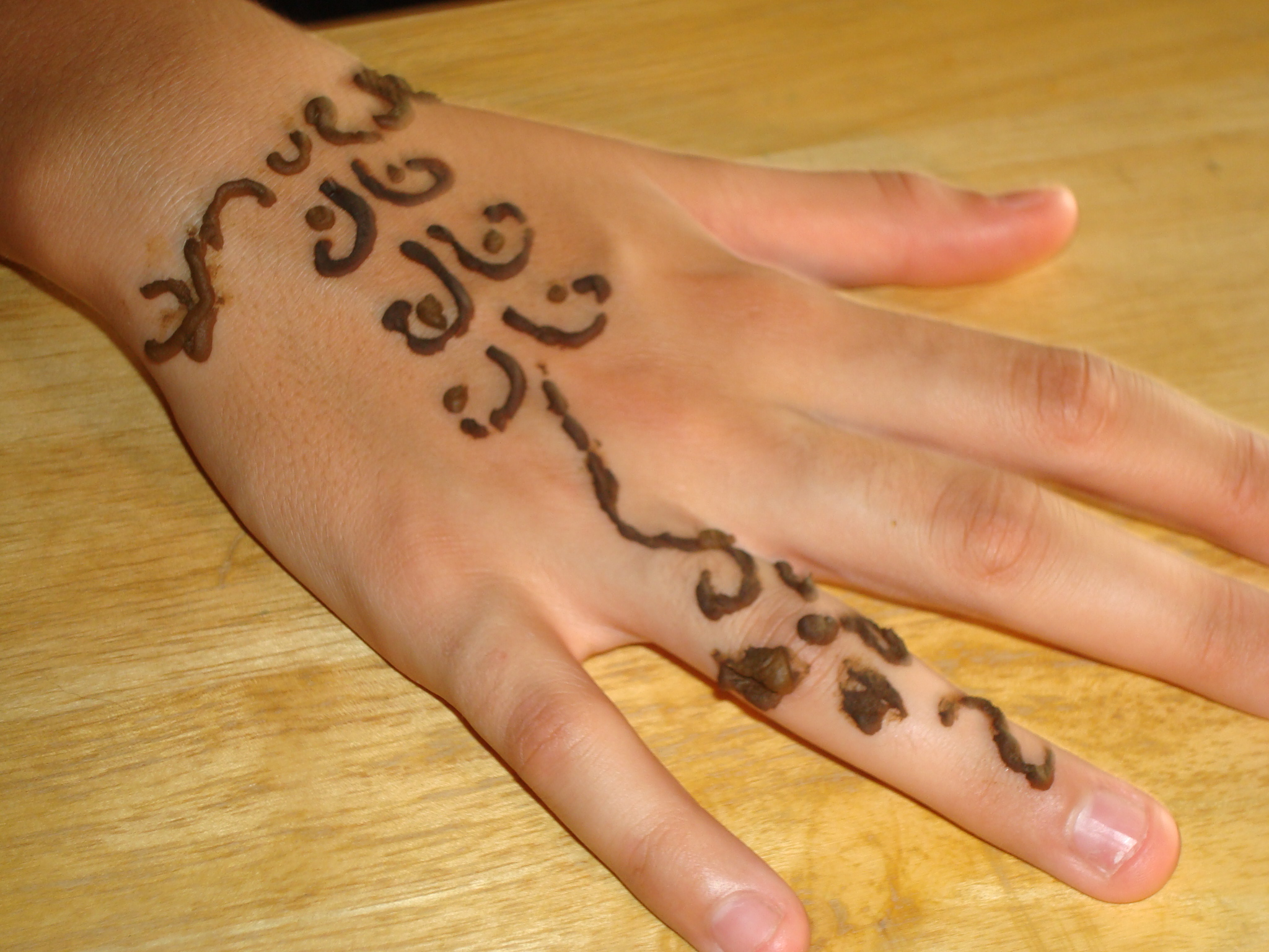 Body Painting Tattoo On The Hand With A Henna Tattoo Is Very