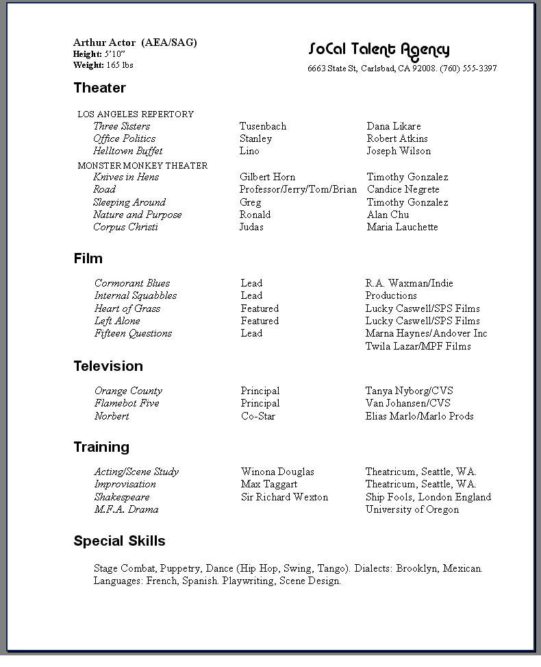 Sample Actor Resume ...