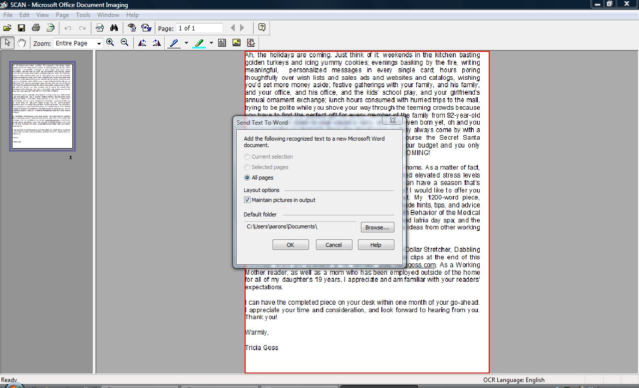 How to Scan a Document Into Word 2007