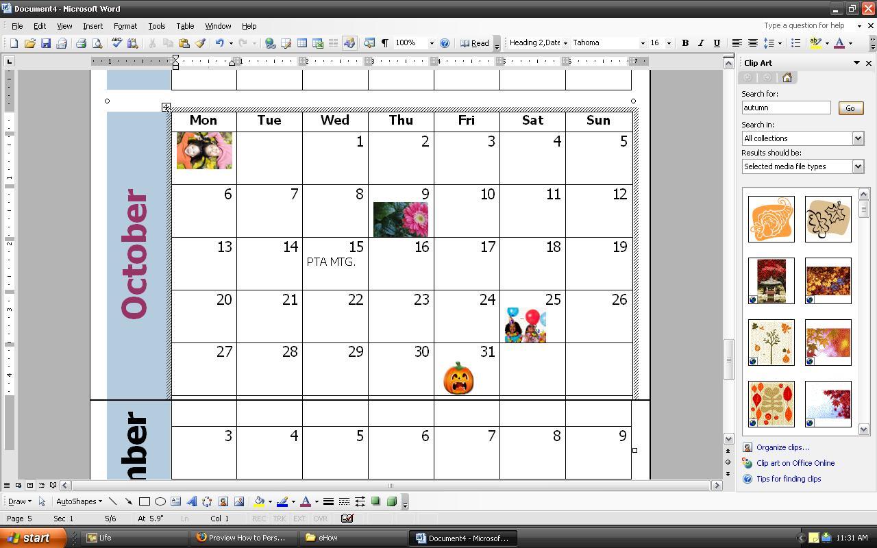 Cómo personalizar un calendario mensual con Word | Techlandia