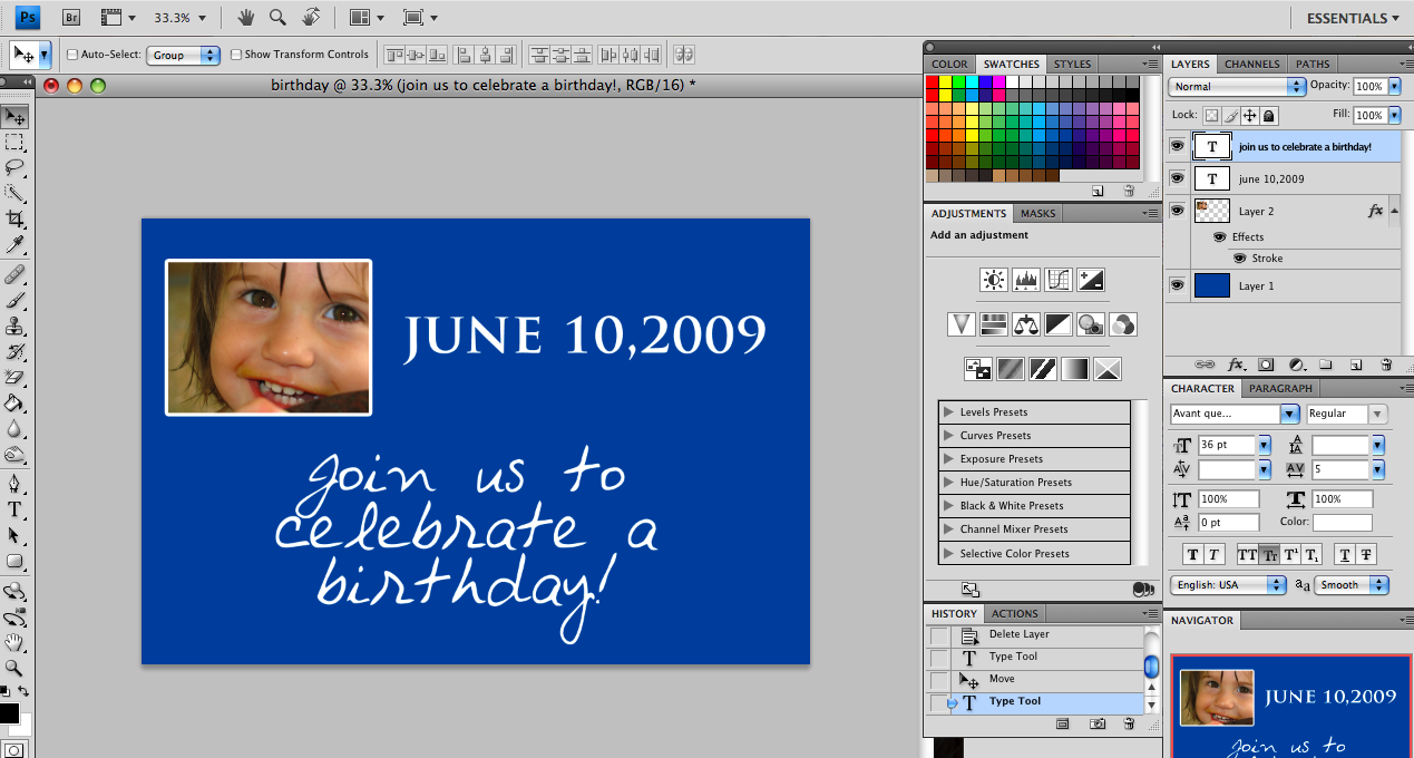 How to Make Birthday Invitations on Photoshop 7.0 : Overview : Create a custom birthday invitation in Photoshop 7.0