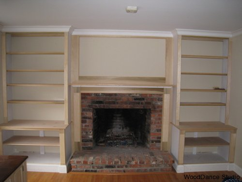 building bookcase around fireplace