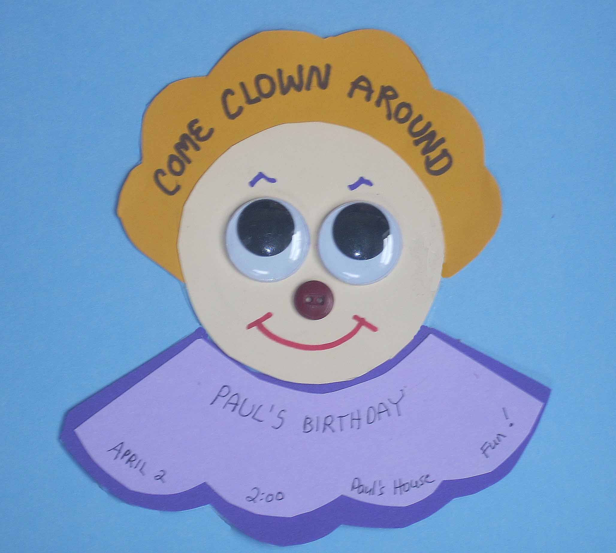 How to Make Decorations and Invitations for a Kid's Birthday Party : Overview : Clown Birthday Invitation