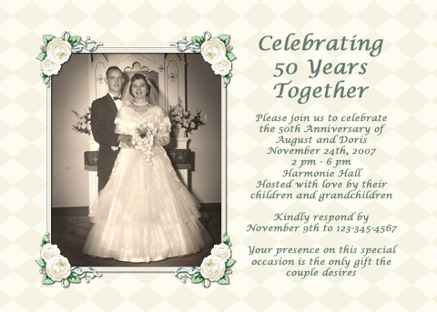 Ideas For A 50th Wedding Anniversary Invitation