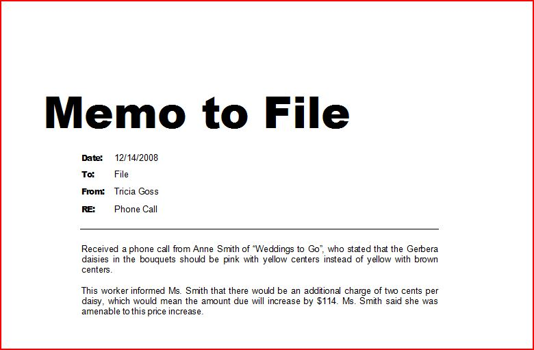 how to write a memo to file ehow uk With memo to file template