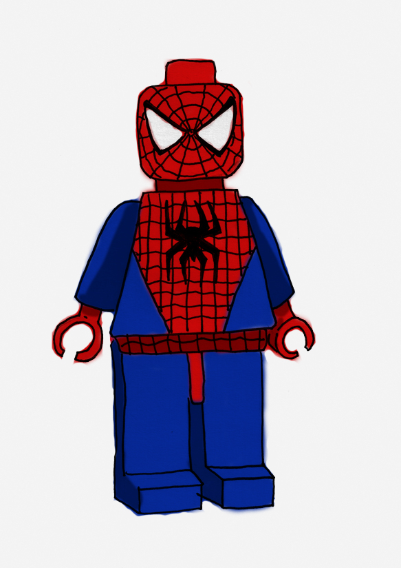 how to draw lego spiderman easy